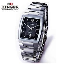 Новый 2017 Люксовый Бренд Швейцария Бингер вольфрама стали часы мужчин кварцевые часы пиво баррель полный стали наручные часы BG-0394-1