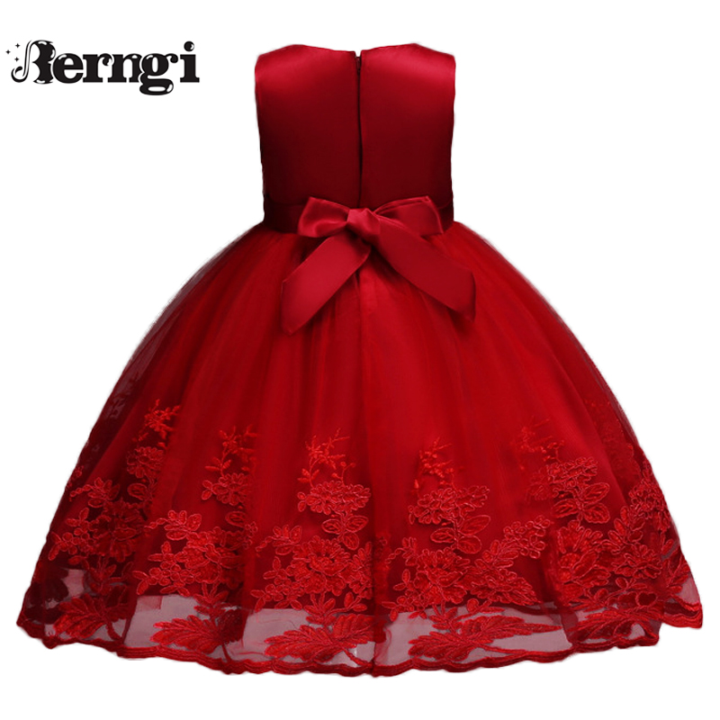 Child Kids Girls 3D Flower Lace Embroidery Bowknot Princess Wedding Party Dress