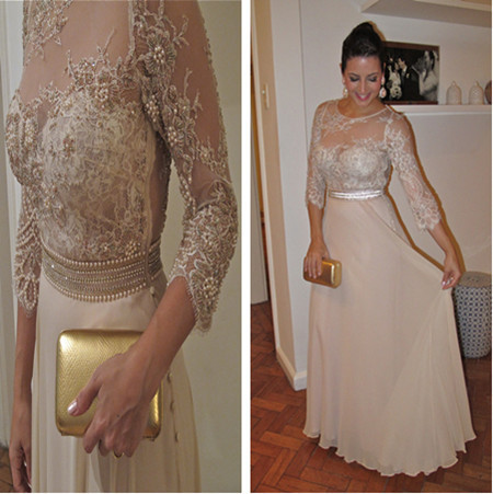 High Quality Sheer Lace Long Sleeves Pearls and Crystals Crew Neckline A Line   Prom     Dresses   Women Evening Gowns BO136