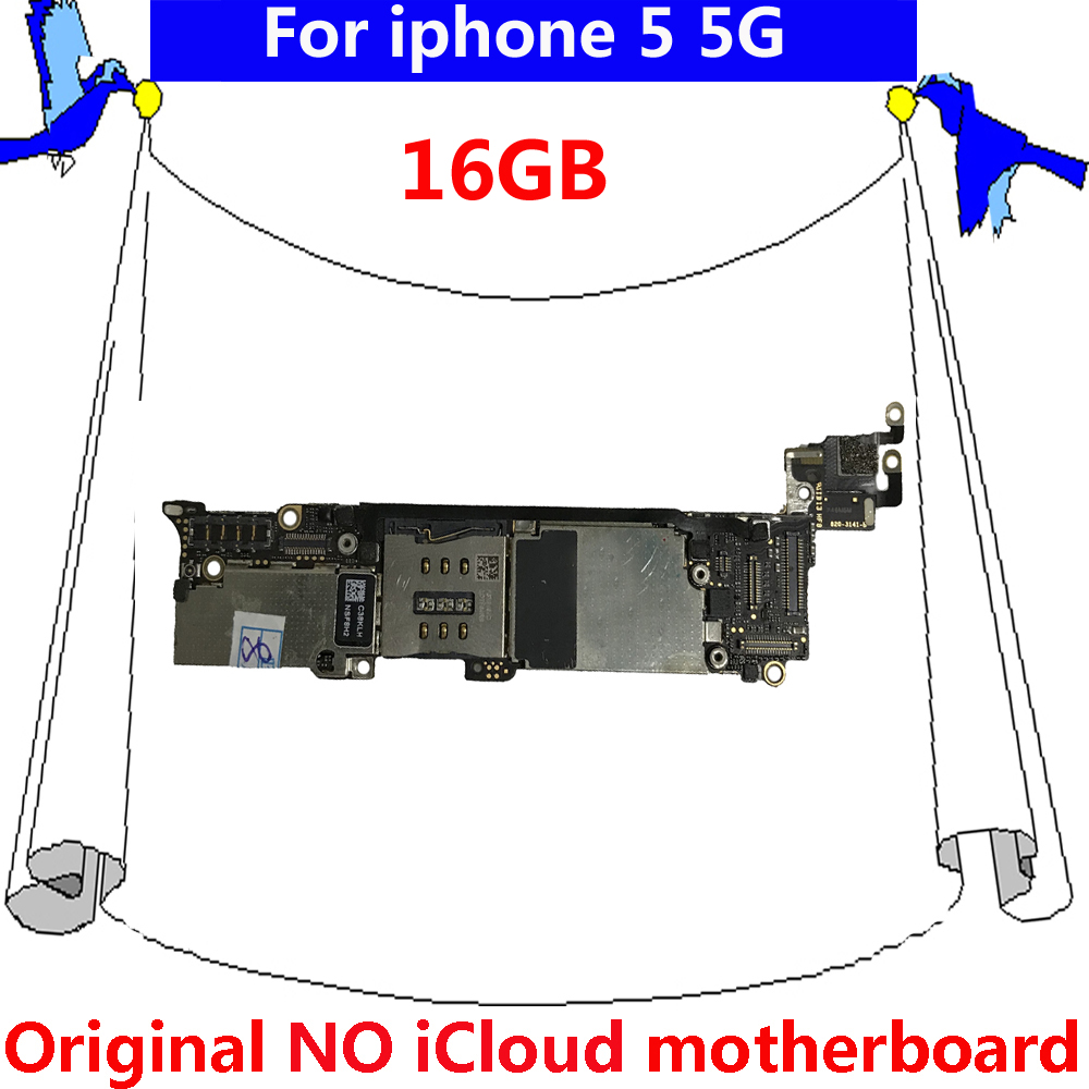For iphone 5 5G 16GB IOS system main plate with chips Original motherboard  for iphone 5