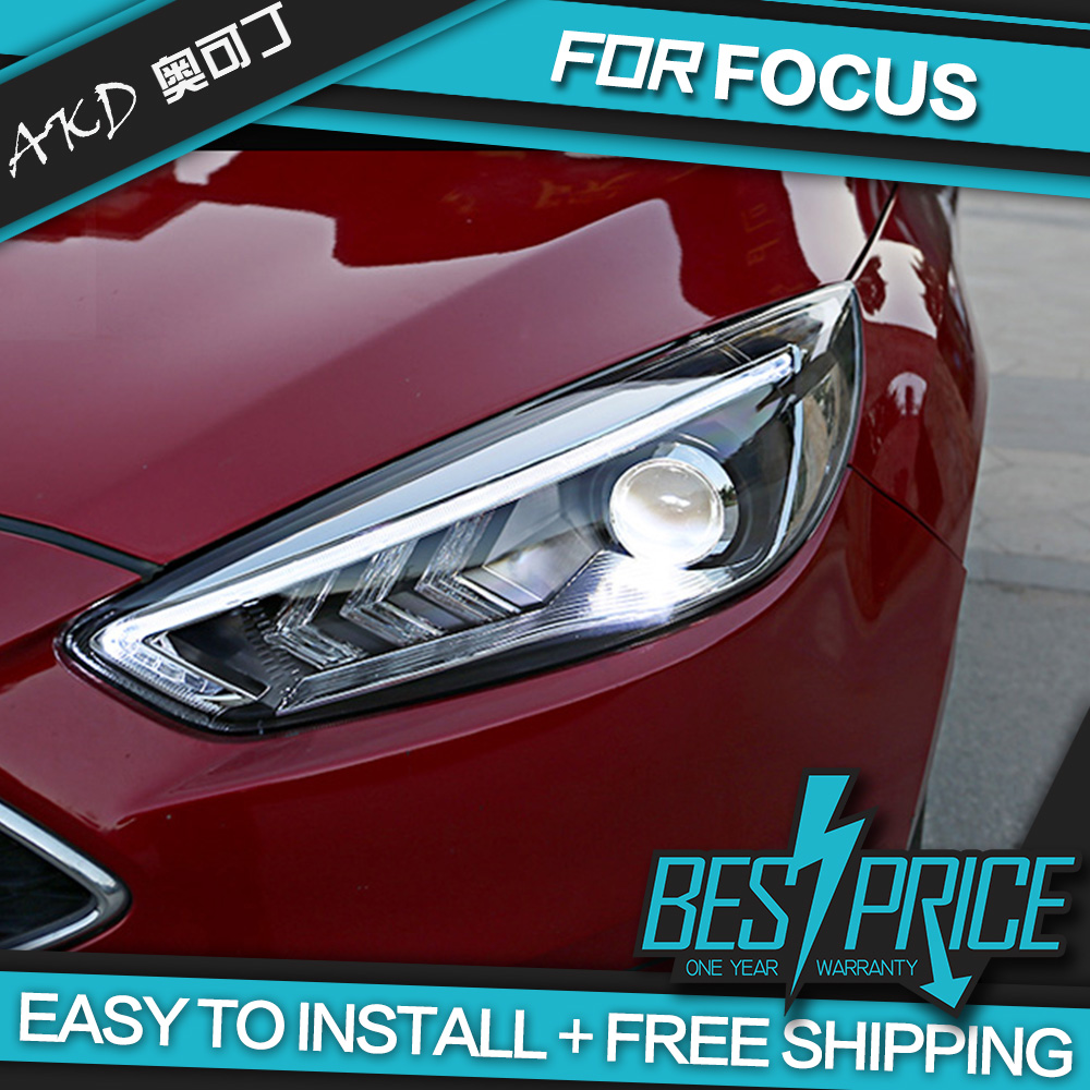 Akd car styling head lamp for ford focus 2015 headlights led headlight angel eyes drl bi