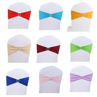 50pcs/Lot Stretch Wedding Chair Cover Sash Band With Wedding Party Birthday Decorations Buckle Slider Sashes Wholesale