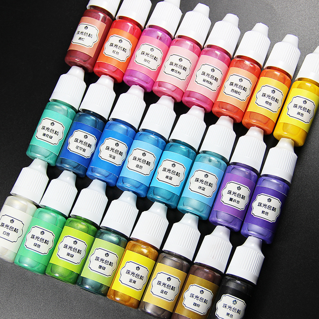 24 Colours 10ml Liquid Dye Pearl Resin Pigment Dye for UV Resin Epoxy Resin DIY Jewelry Making Accessories craft materia