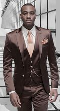 2017 Latest Coat Pant Designs Champagne Satin Wedding Suits for Men Formal Tailor Made Blazer Jacket 3 Pieces Masculino Terno