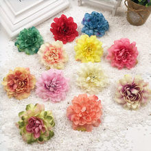 HINDJEF 10 PCS/color mixture (6 cm) artificial silk cloth wedding peony flowers Home decoration DIY decorative arts and crafts