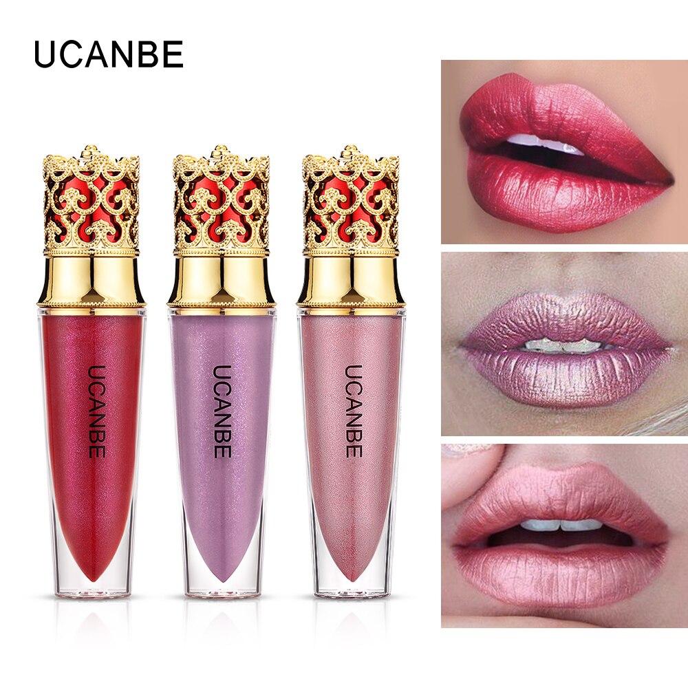 UCANBE 6 Colors Shimmer Velvet Liquid Lipgloss Makeup Metallic Matte Creamy Lipstick Waterproof Long Lasting Cosmetic - 3