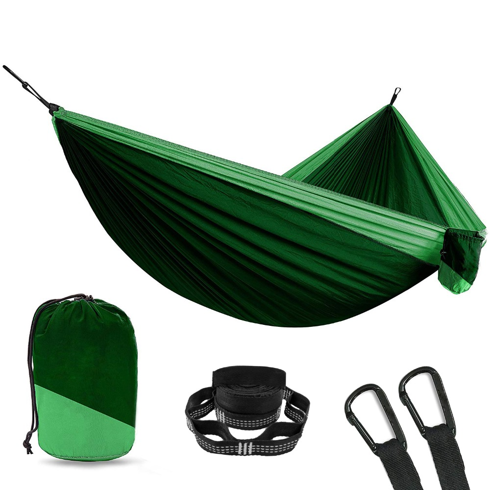 Acehmks Two Person Outdoor Furniture Travel Backpack Ultralight Parachute Hammock Durable Portable Hammock Nylon Fabric Outdoor Furniture