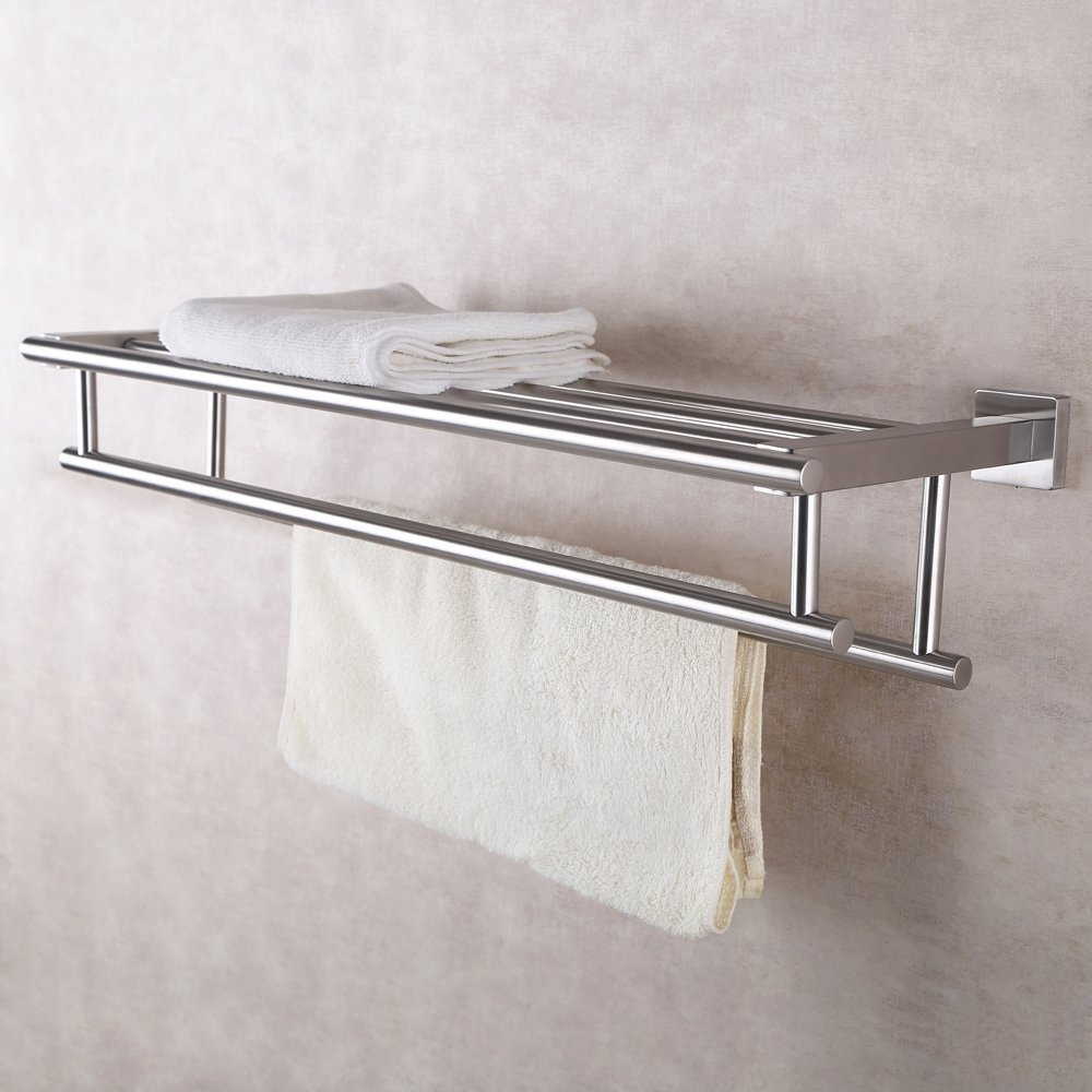 Stainless Steel Bath Towel Rack Bathroom Shelf with Double Towel Bar ...