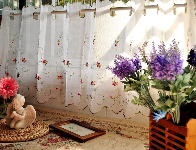 Cross Linen Translucidus Three Dimensional Embroidery Pink Purple Small Roses Kitchen Curtain Coffee