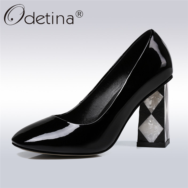 Odetina 2018 New Fashion Patent Leather Pumps For Women Square High Heels Slip On Sexy Party Shoes Ladies Pointed Toe Pump Shoes silver patent leather sexy ballet heels fetish shoes high heels pumps silver heels ladies party shoes 2017 ballet dance shoes