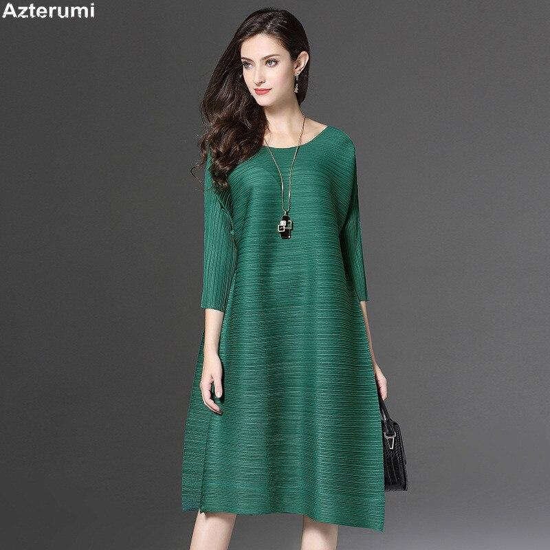 Azterumi Spring New Fold A -Line Women's O-Neck Dress Summer Pleated Solid Color Midi Dresses Female Ol Formal Dress