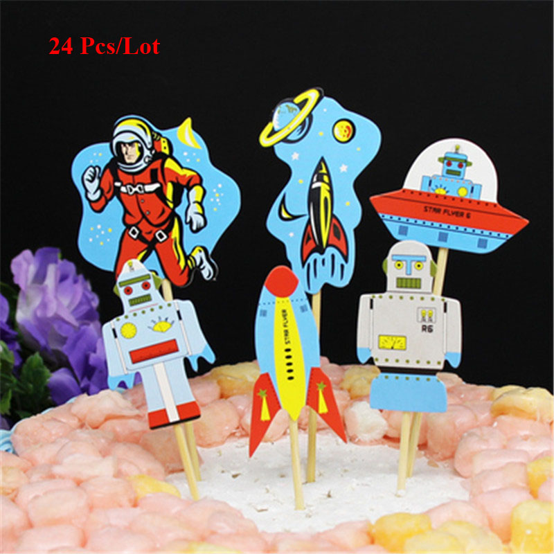 party birthday supplies astronaut cake topper cake flags birthday party decorations kids cake decorating cupcake toppers in Cake Decorating Supplies from Home Garden