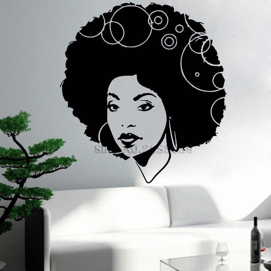 Beautiful African Woman Curly Hair Sexy Wall Stickers Art Decor Wall Mural Vinyl Sticker Handmade Diy Home Decor Wallpaper Lc485 Aliexpress
