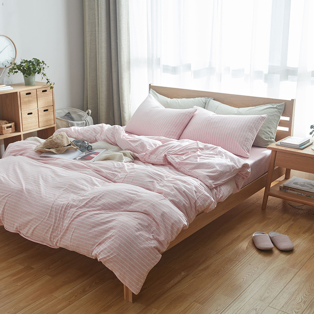 100% Cotton Muji Style Bed Cover Set 4pcs Super Soft Jersey Knit Bedding  Sets King