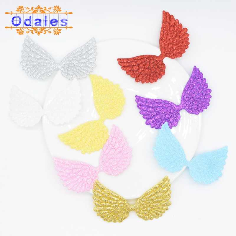 20pcs Mixed Glitter Angel Wing Appliques Single Side Glitter Fabric DIY Patches
