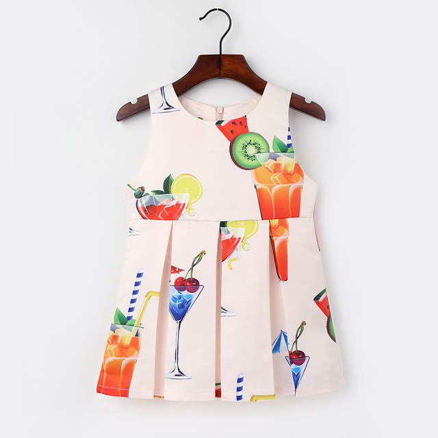 3d2fed28deac 2-6Y Summer dress Children's fruit kids dresses for girls princess baby girl  clothes birthday party sleeveless clothing