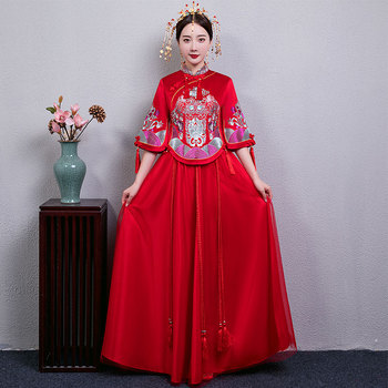 Traditional Women Marriage Cheongsam Suit Chinese Style Embroidery Flower Qipao Vintage Bride Wedding Evening Party Dress