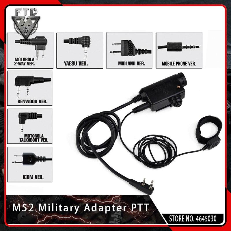 OPSMEN Earmor M52 Militaire Adaptateur PTT Airsoft Tactique Casque PTT Kenwood pour Airsoft MSA Sordin/3 M Peltor
