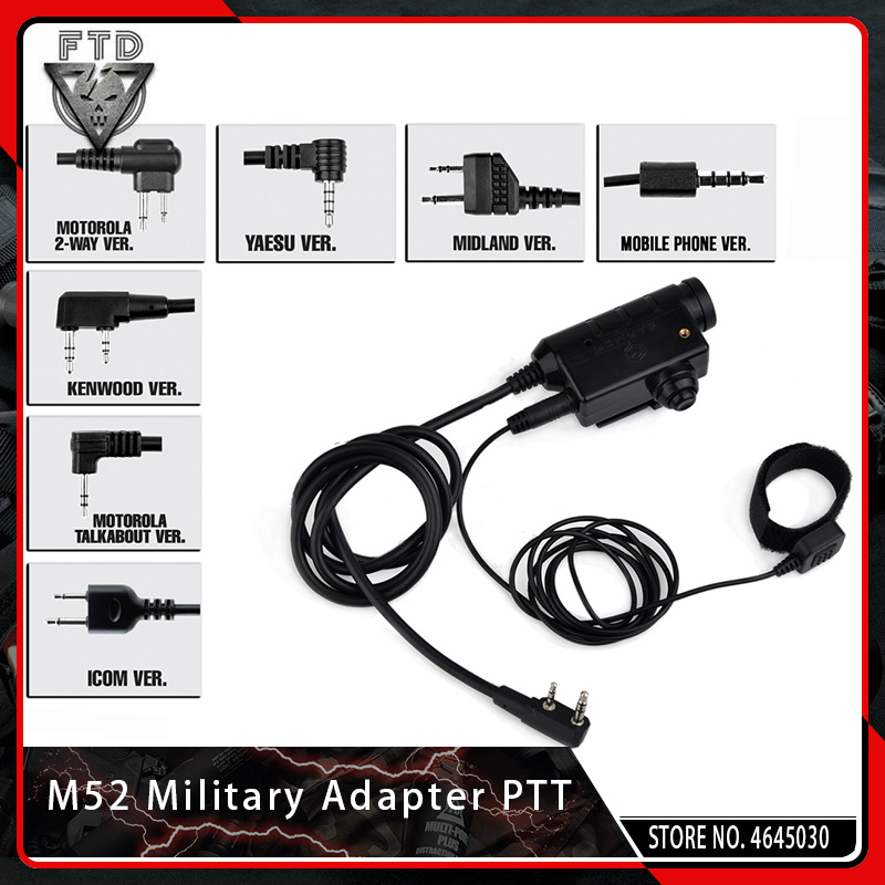 OPSMEN Earmor M52 Military Adapter PTT Airsoft Tactical Headset PTT Kenwood for Airsoft MSA Sordin/3M PeltorOPSMEN Earmor M52 Military Adapter PTT Airsoft Tactical Headset PTT Kenwood for Airsoft MSA Sordin/3M Peltor