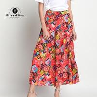Runway Skirt Women 2017 Floral Print Skirt Silk Vintage Skirts Summer