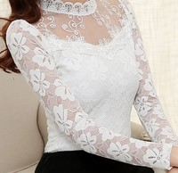 2016 Autumn Women Sexy Hollow Out Lace Blouse Long Sleeve Stand Collar Floral Lace Shirt Tops