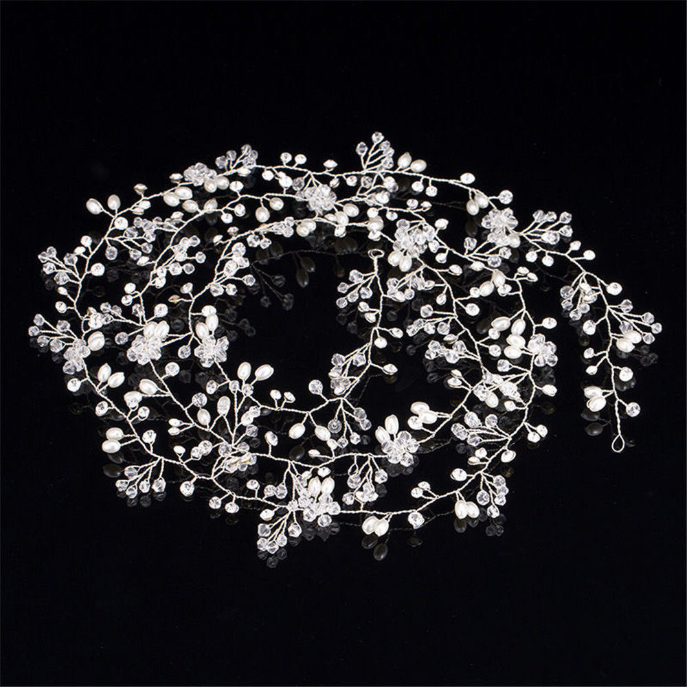 Bridal Wedding Crystal Bride Hair Accessories Pearl Flower Headband Women 2