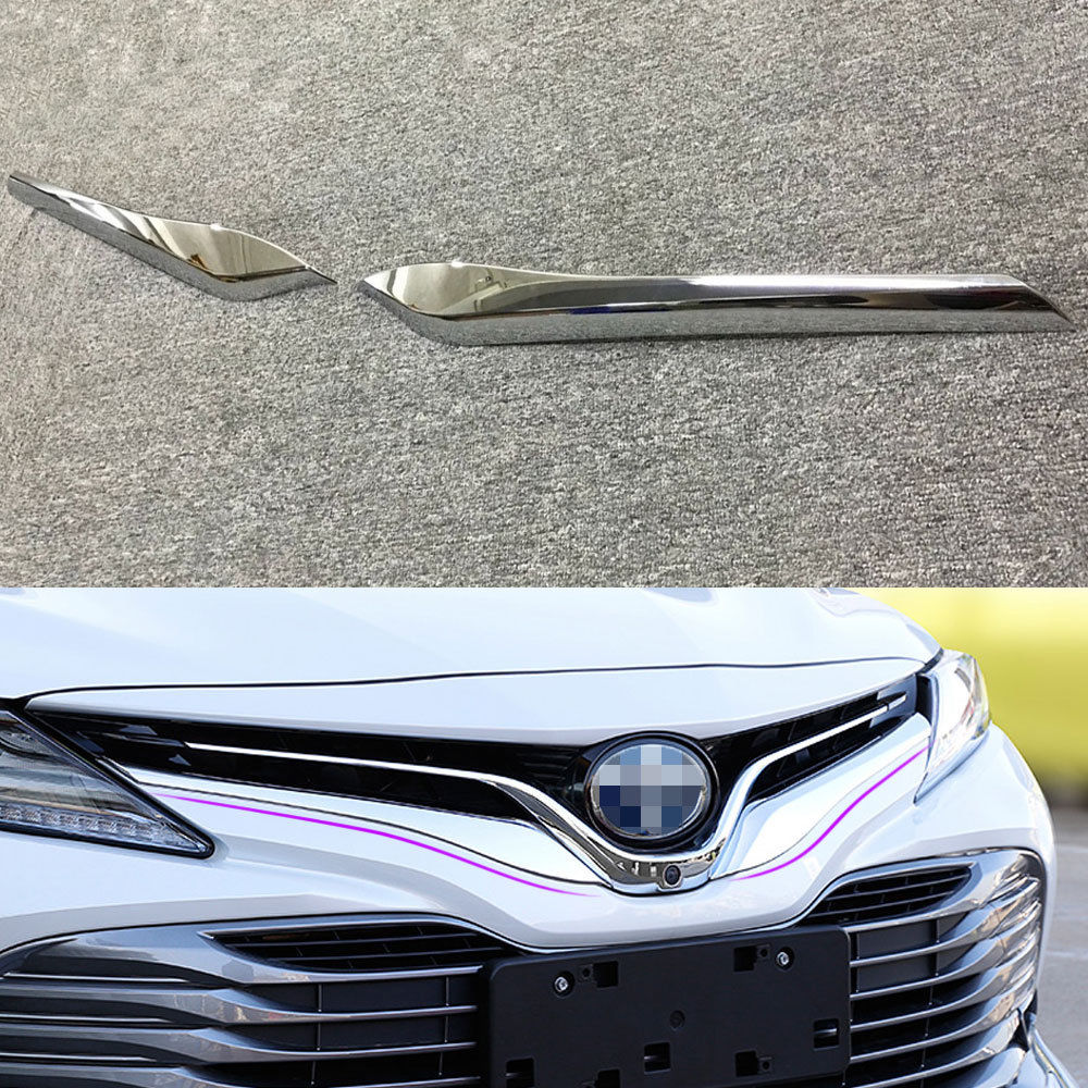2pcs/set Chrome ABS Car Front Upper Middle Grille Grill Cover Trim Strip Decal Fit For Toyota Camry 2018 Car Styling Accessories