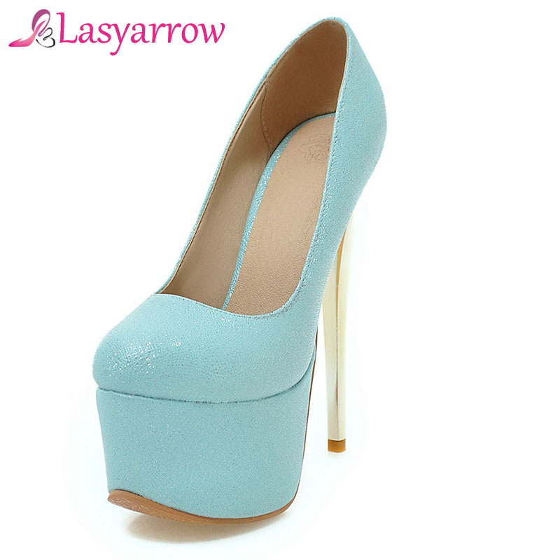 Lasyarrow Brand Shoes Women Platform 16CM High Heels Pumps Round Toe Women Shoes Party Wedding Shoes Sexy Zapatos Feminino RM330 taoffen women high heels shoes women thin heeled pumps round toe shoes women platform weeding party sexy footwear size 34 39
