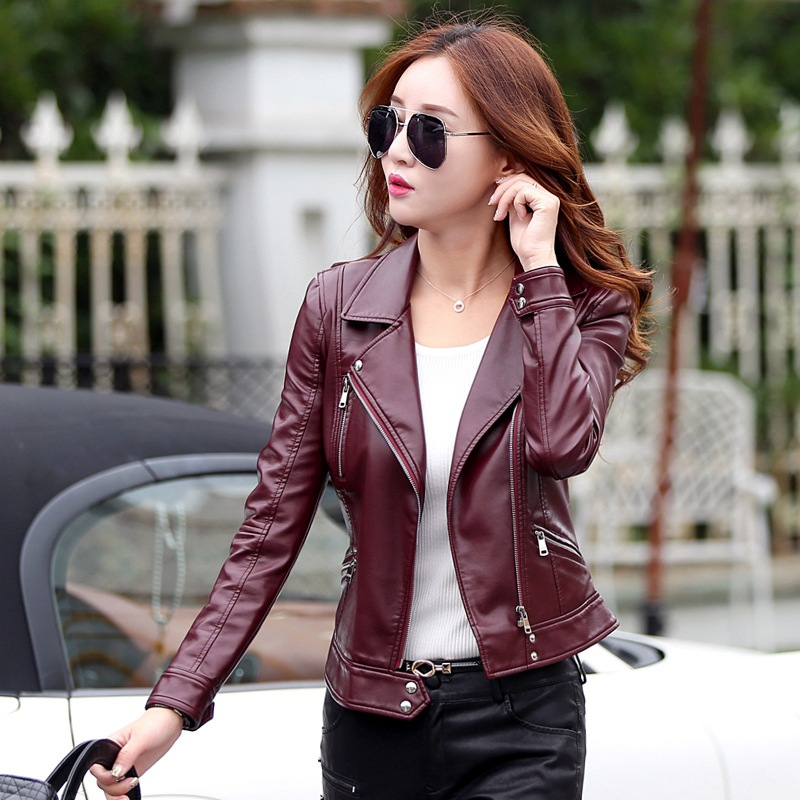 Black Plus Size S-5XL Fashion 2017 Autumn Winter Women   Leather   Coat Female Slim Short   Leather   Jacket Women's Outerwear