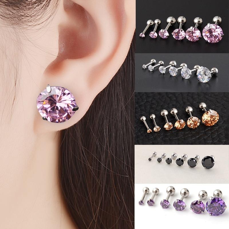 LNRRABC1Pair Dazzling Rhinsetones Men Women 2mm-6mm 8mm Stud Earrings Bone Nail Small Piercing Body Jewelry
