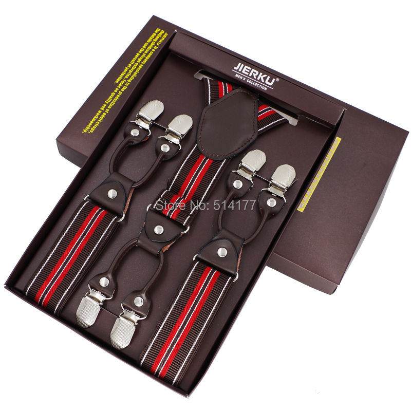 New Men's Suspenders Casual 6 Clips Braces Leather Suspensorio Adjustable Belt Strap Bretelles Ligas Tirantes 3.5*115cm 7 Colors