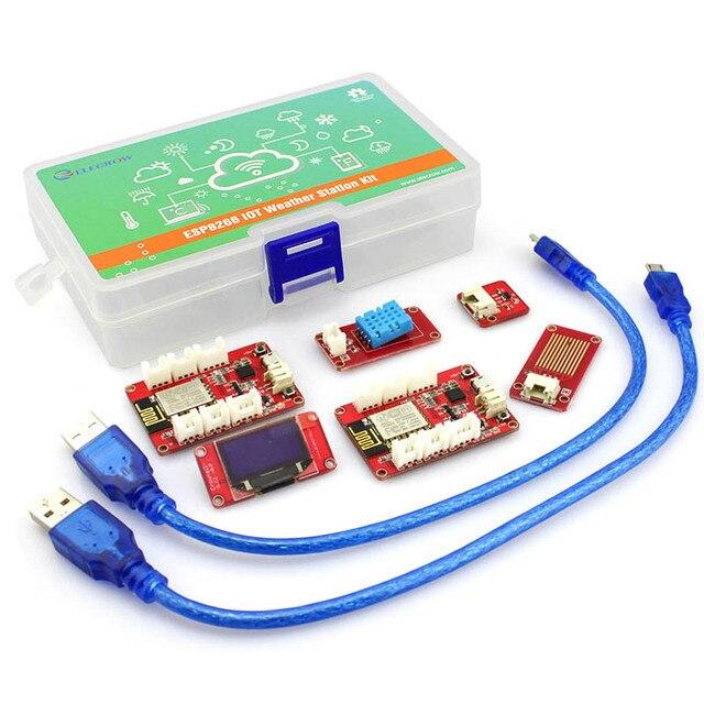Elecrow ESP8266 модуль IOT Метеостанция комплект умный дом влажность температура датчики УФ ESP8266 NodeMCU DIY Kit