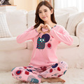 Lovely Fall spring  100%Cotton 2pcs women's Leisure Home letter print Clothes/ Wear Pajama Sets M/L/XL/XXL pijama entero mujer