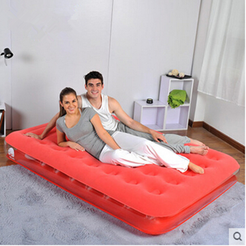 fashion Transparent flocking inflatable bed Honeycomb colorful inflatable mattress ...
