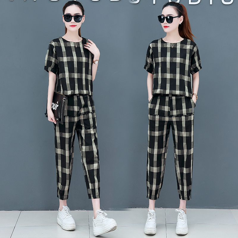 2019 Summer Cotton Linen Plaid Two Piece Sets Outfits Women Plus Size Short Sleeve Tops And Pants Casual Matching Sets Suits 34