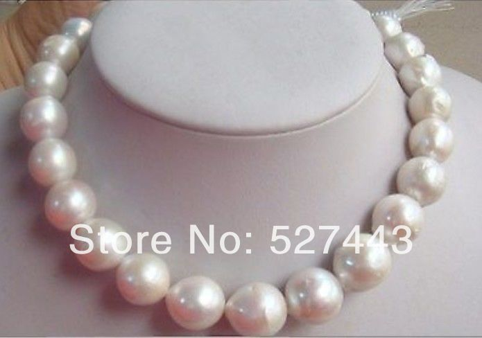 Wholesale free shipping >>14-15mm natural Australian south sea white pearl necklace 18inch games voyage en france a2 b1