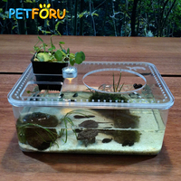 PETFORU Hot Transparent Fish Tank Insect Reptile Breeding Feeding Box Large Capacity Aquarium Habitat Tub Turtle Tank Platform