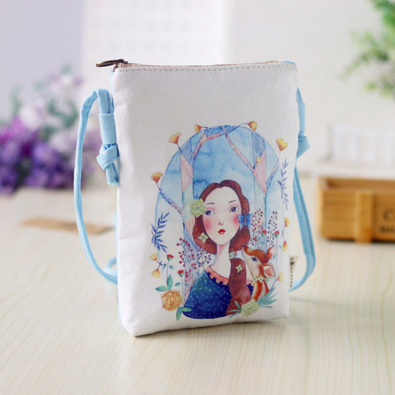 Yesello Canvas cartoon coin purse small pouch bags children mini messenger bag mobile phone bags for kids girls