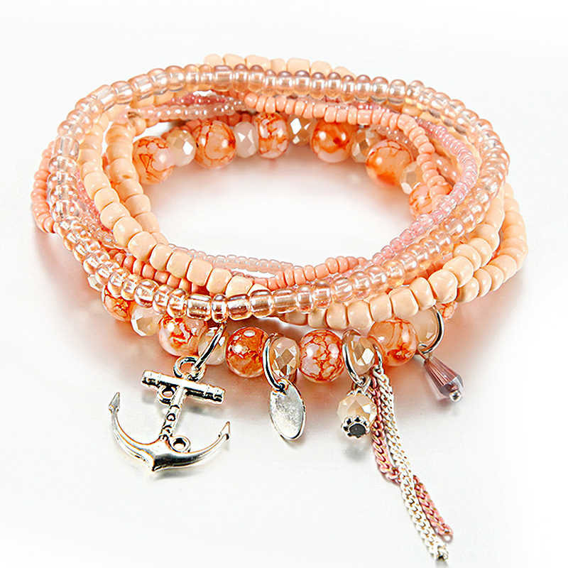 Boho ססגוניות חרוזים צמידי עבור נשים עם ציצית עוגן כסף קסם צמיד Femme תכשיטי מסיבת מתנת pulseira feminina