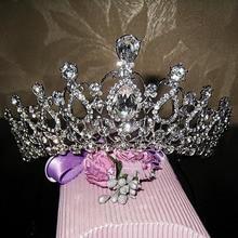 Adornos para el pelo de cristal pelo de la novia accesorio de la boda joyería rhinestone pageant crowns tiaras y coronas cabeza