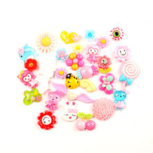 LF 100Pcs Mixed Kawaii  Resin Decoration Crafts Beads Flatback Cabochon Scrapbooking Embellishments Diy Accessories