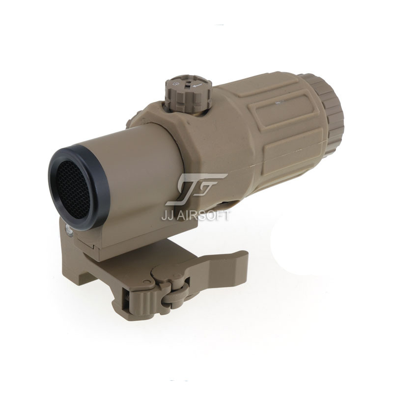 все цены на JJ Airsoft 3X Magnifier with Switch to Side STS Quick Detachable / QD Mount & Killflash / Kill Flash (Tan) онлайн