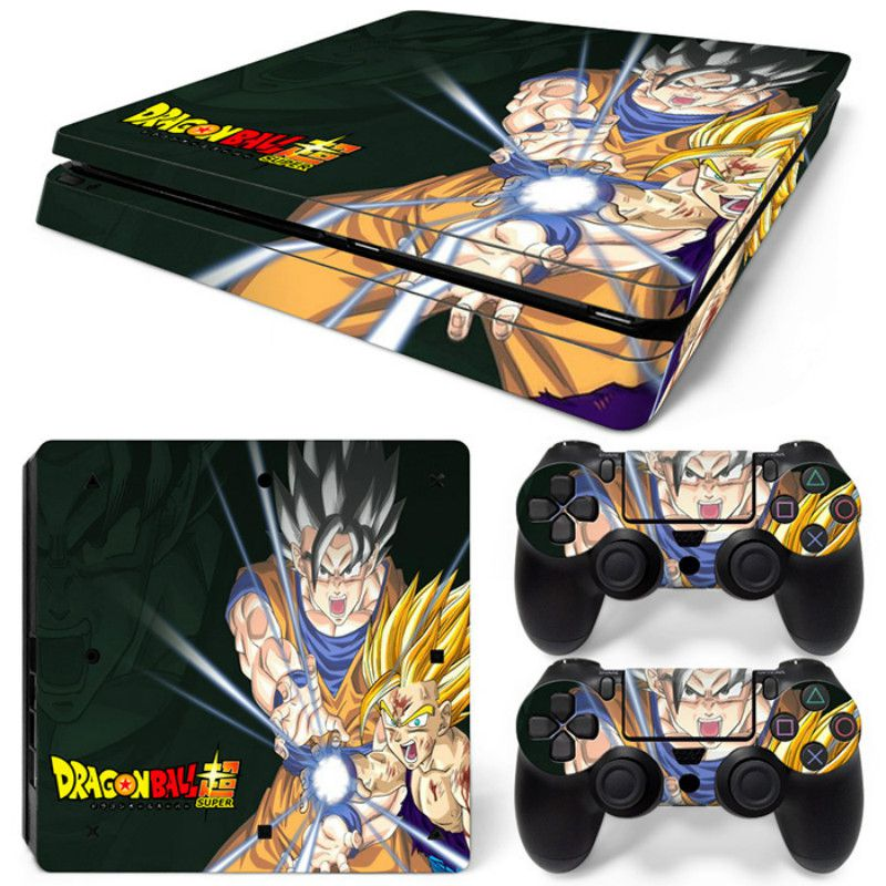 Cartoon DragonBall Print Decal Skin for PS4 Slim +2PCS Controller Protective Skins Decals For Sony Playstation 4 Slim