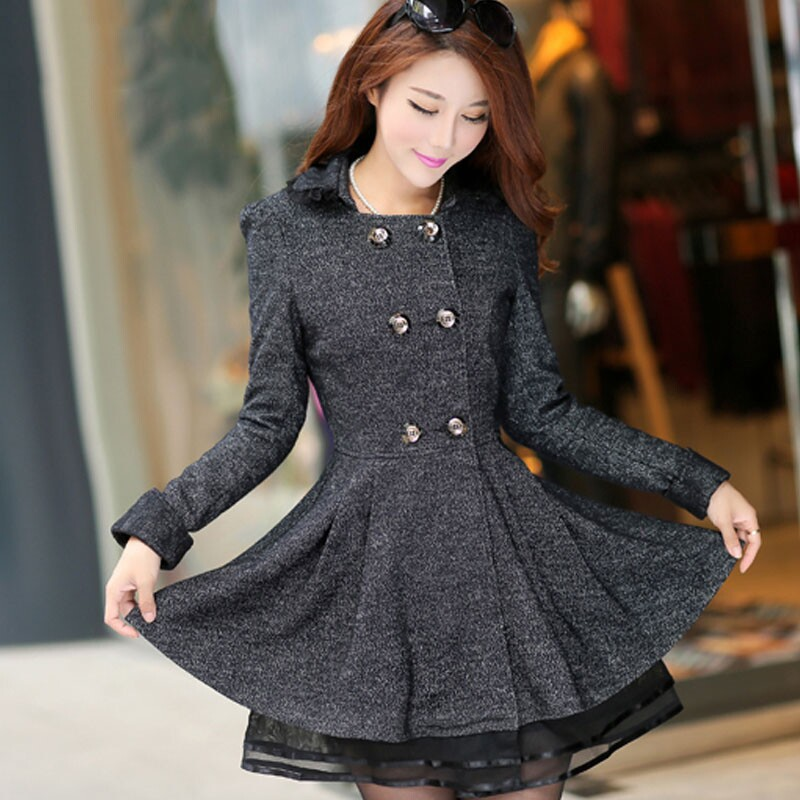 dfe87291387a9 Plus Size XL 6xl (bust 132cm) New 2014 Winter wool woolen cloth coat extra  large Korean version of slim women s coat free ship-in Blouses   Shirts  from ...