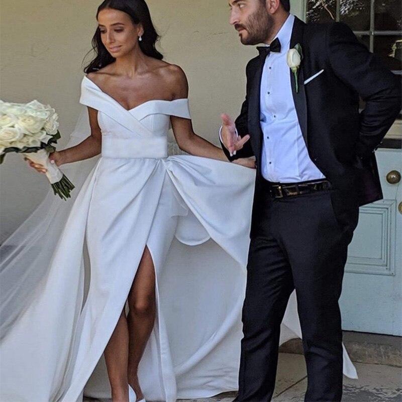 Off The Shoulder Vestido De Novia 2019 New Satin White Ivory Beach Wedding Dresses Front Split Sweep Train Custom Bridal Dress