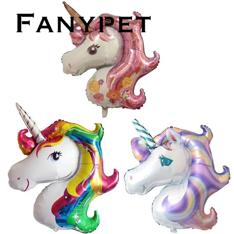 50pcs/lot Rainbow Unicorn Balloons Party Supplies Foil Balloons Kids Cartoon Animal Horse Float Globe Birthday Party Decoration