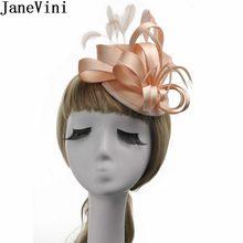 JaneVini Chic Mujer boda sombrero de plumas Fascinator sombreros cóctel boda  accesorios de pelo nupcial novia 289e30d0b82