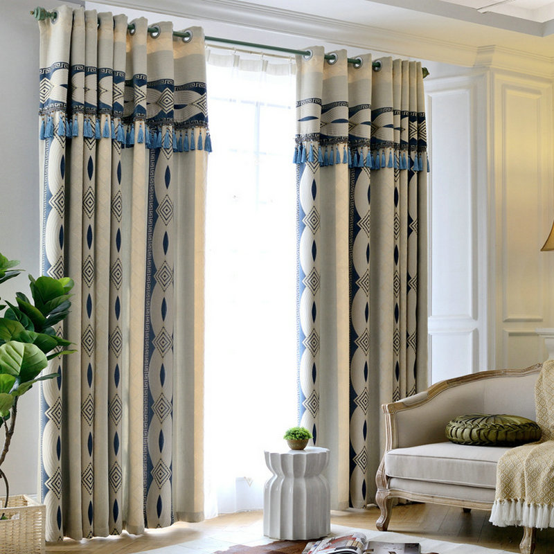 Geometric Jacquard Modern Curtains Simple Design Living: Modern Chenille Geometric Pattern Dense Curtains For