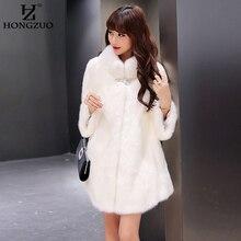 HONGZUO New Winter Women Thick Warm Fur Coat Female Vintage Faux Fox Fur Coat Ladies Fur Long Jacket Parka With Fur Collar PC118
