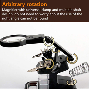 Image 5 - Soldering Solder Iron Stand Holder Station Desk Magnifier LED Light Clamp Clip Helping Hand Magnifying Circuit Board
